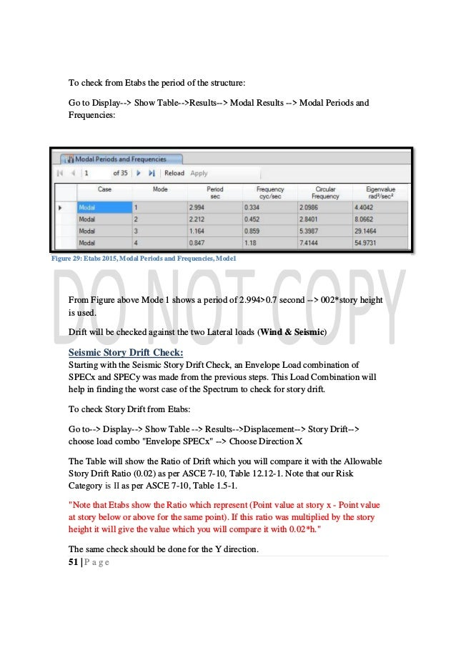 51   P a g e To check from Etabs the period of the structure: Go to Display--> Show Table-->Results--> Modal Results --> M...