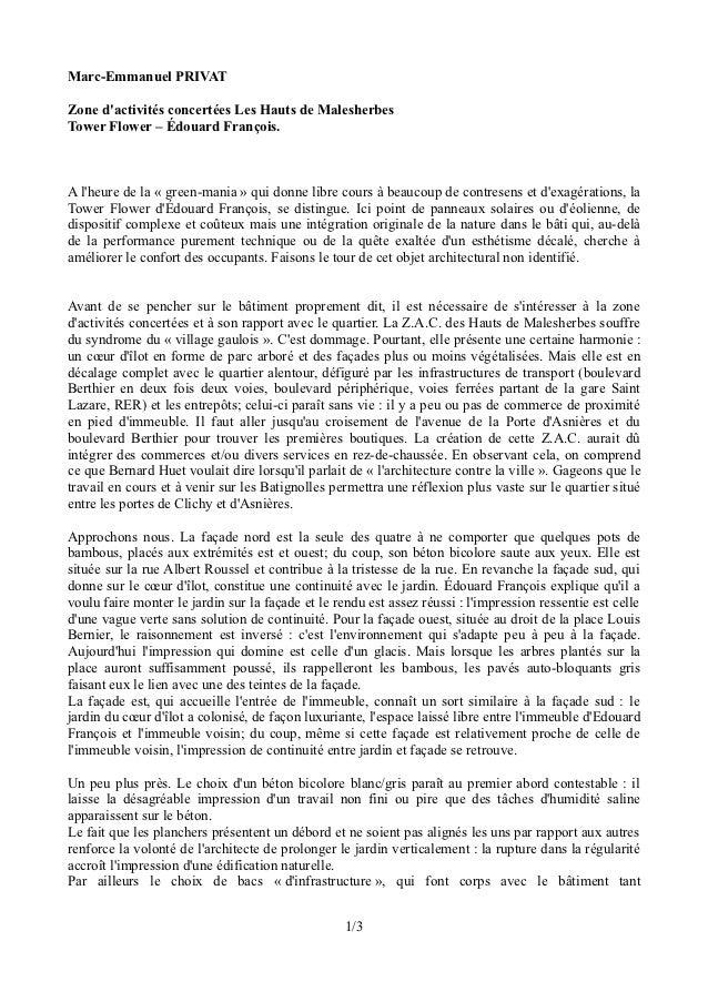 Marc-Emmanuel PRIVATZone dactivités concertées Les Hauts de MalesherbesTower Flower – Édouard François.A lheure de la « gr...