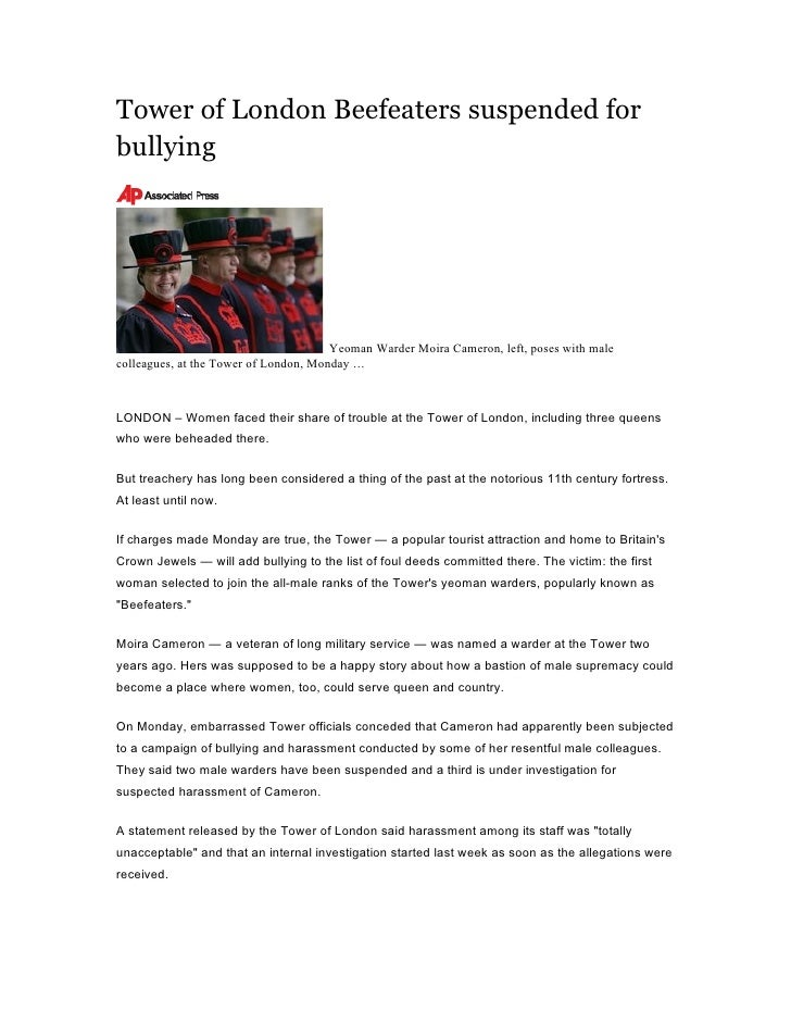 Tower of London Beefeaters suspended for bullying                                            Yeoman Warder Moira Cameron, ...