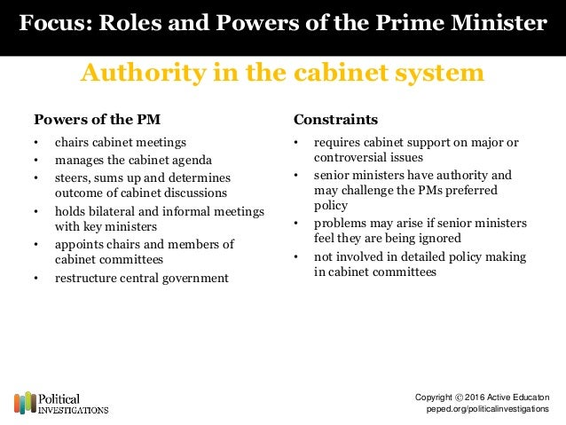 to what extent is the prime minister first among equals The prime minister is supposed to be primus inter pares, meaning first among equals but over the years, the cabinet has become more institutionalized and less departmentalized hence the prime minister's power has increased over the years canada is the one of the most decentralized federations in the world.
