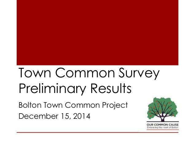 Town Common Survey Preliminary Results Bolton Town Common Project December 15, 2014