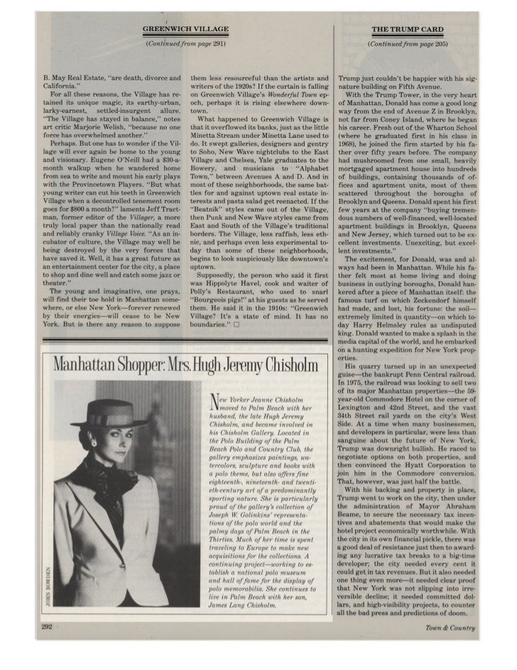 FEATURE ARTICLE on JEANNE CHISHOLM, TOWN & COUNTRY
