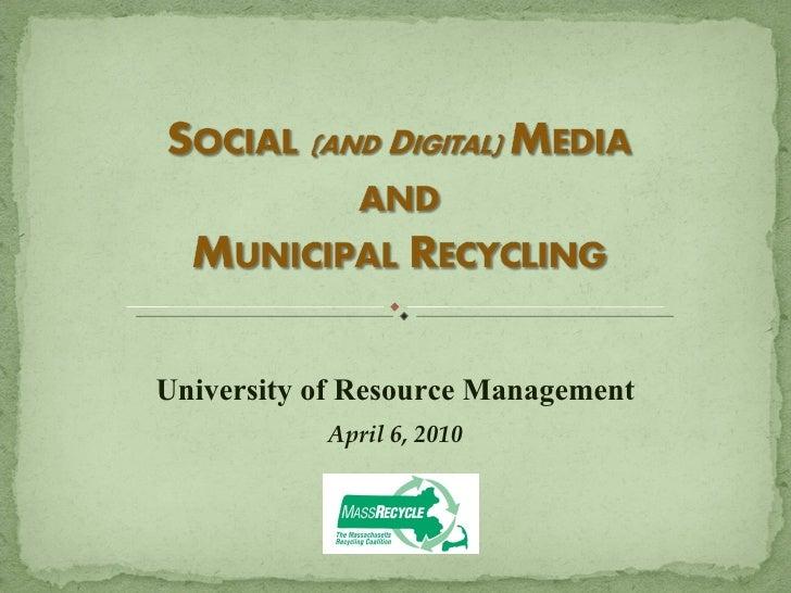 University of Resource Management April 6, 2010