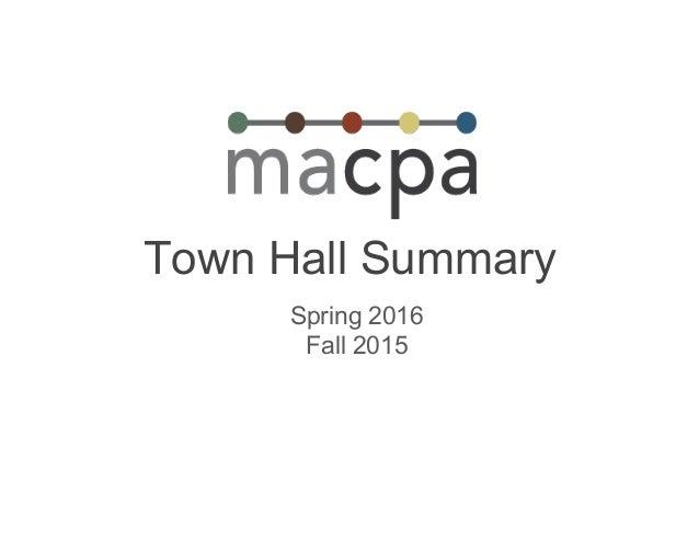 Town Hall Summary Spring 2016 Fall 2015