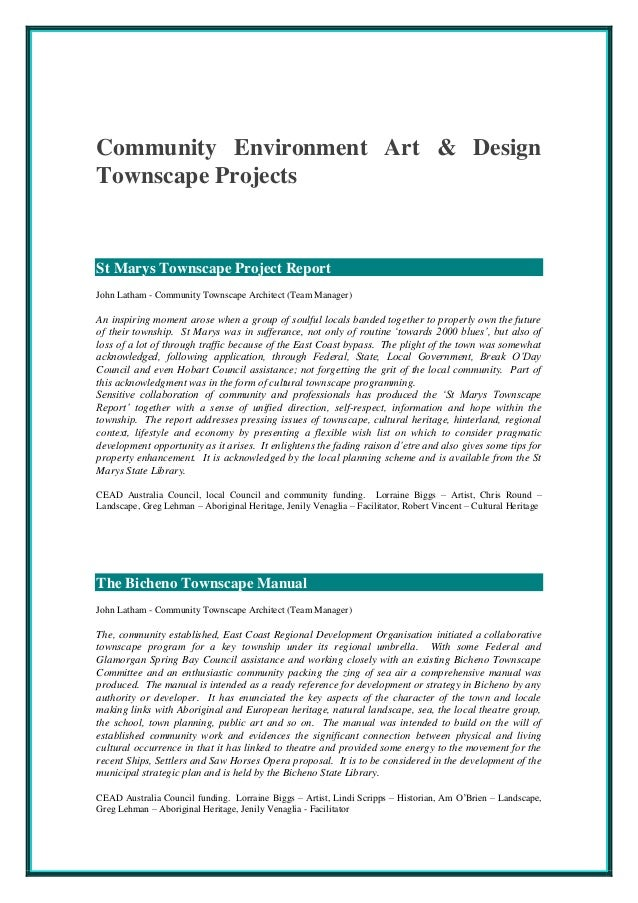 Community Environment Art & Design Townscape Projects St Marys Townscape Project Report John Latham - Community Townscape ...