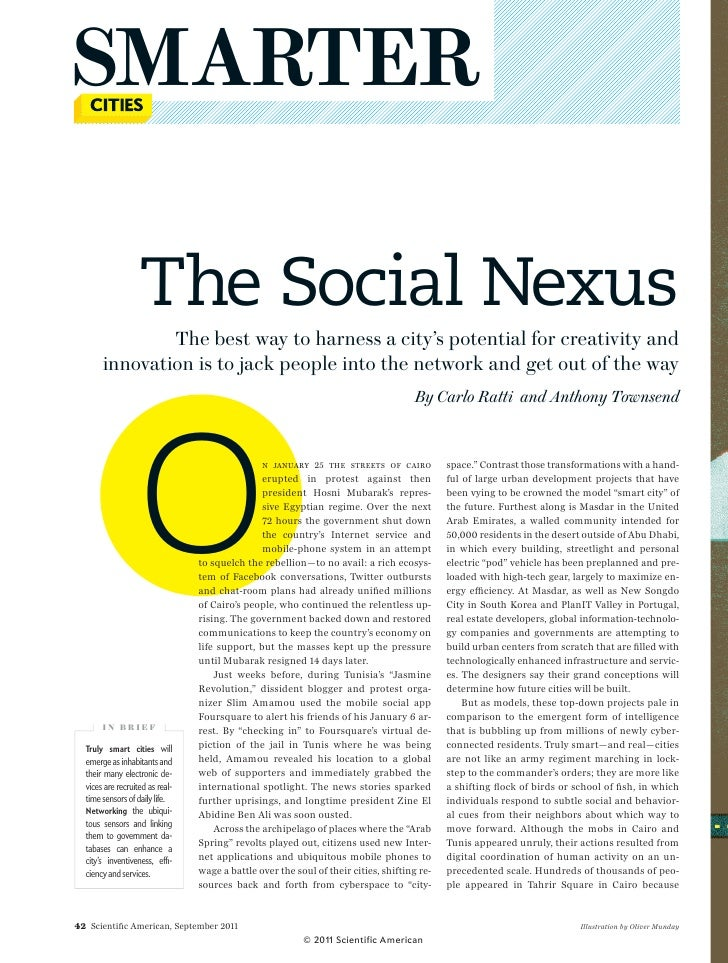 SMARTER                       The Social Nexus                The best way to harness a city's potential for creativity an...
