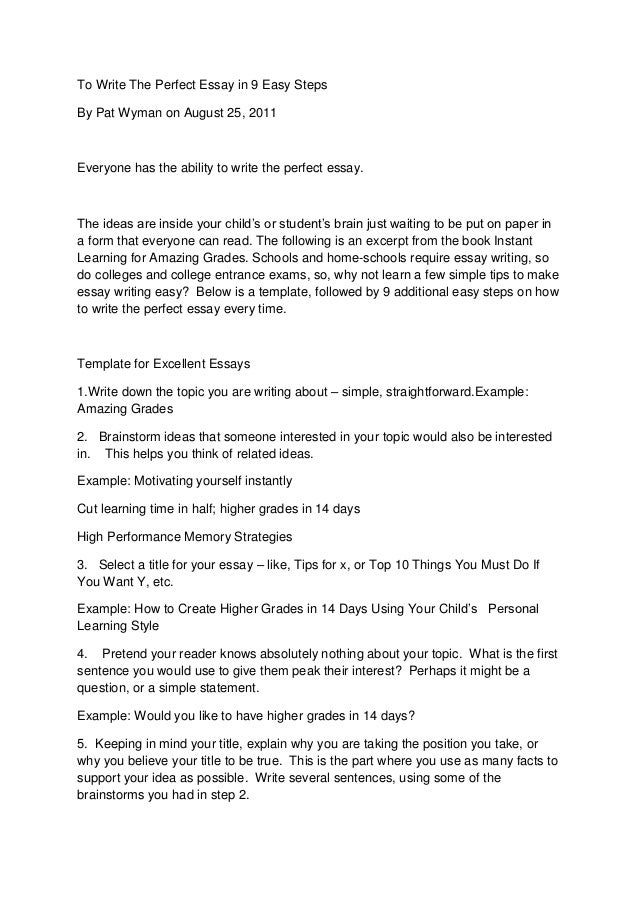 To write the perfect essay in 9 easy steps