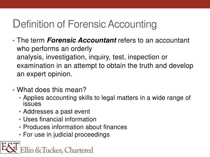 forensic accounting and the use of Forensic accounting has existed for many years with the growing complexities of the business environment and the growing number of business related investigations, forensic accounting professionals are increasingly asked to assist in the investigation of financial and business related issues.