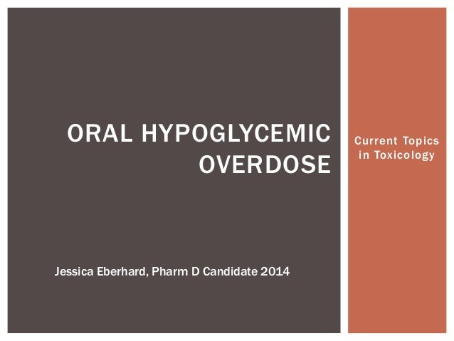 Current Topicsin ToxicologyORAL HYPOGLYCEMICOVERDOSEJessica Eberhard, Pharm D Candidate 2014
