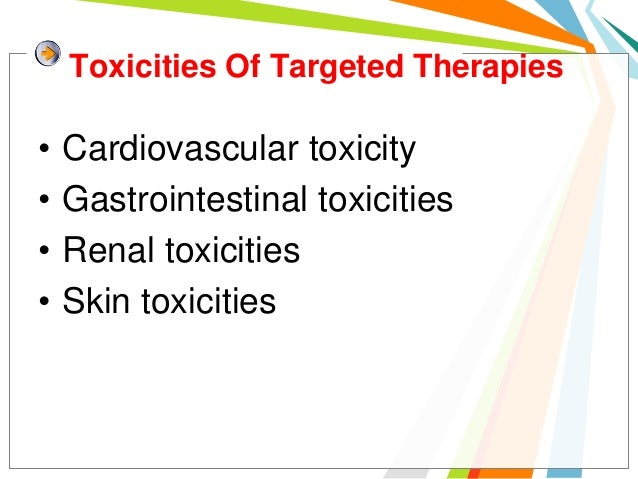 Toxicities Of Targeted Therapies•   Cardiovascular toxicity•   Gastrointestinal toxicities•   Renal toxicities•   Skin tox...