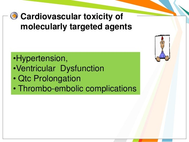 Cardiovascular toxicity of molecularly targeted agents•Hypertension,•Ventricular Dysfunction• Qtc Prolongation• Thrombo-em...