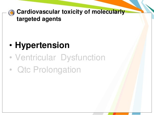 Cardiovascular toxicity of molecularly targeted agents• Hypertension• Ventricular Dysfunction• Qtc Prolongation