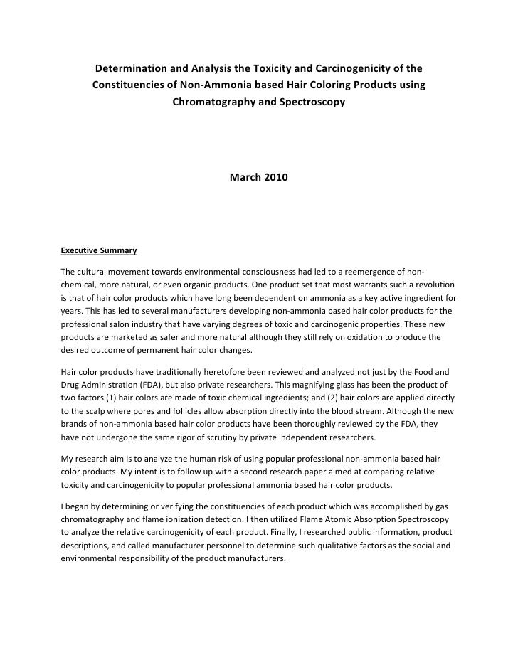 Determination and Analysis the Toxicity and Carcinogenicity of the         Constituencies of Non-Ammonia based Hair Colori...