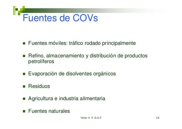 Fuentes de COVs Fuentes móviles: tráfico rodado principalmente Refino, almacenamiento y distribución de productos petrolíf...