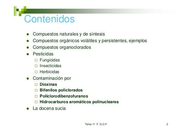 Contenidos Compuestos naturales y de síntesis Compuestos orgánicos volátiles y persistentes, ejemplos Compuestos organoclo...