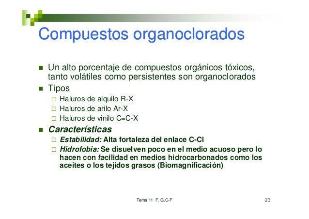 Compuestos organoclorados Un alto porcentaje de compuestos orgánicos tóxicos, tanto volátiles como persistentes son organo...