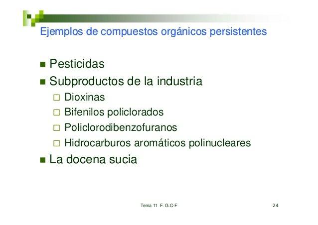 Ejemplos de compuestos orgánicos p j p           p         g       persistentes Pesticidas Subproductos de la industria   ...
