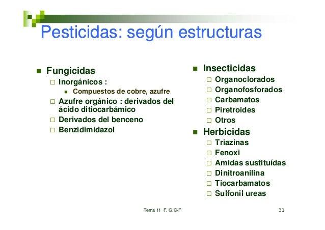Pesticidas: según estructurasFungicidas                                 Insecticidas  Inorgánicos :                       ...