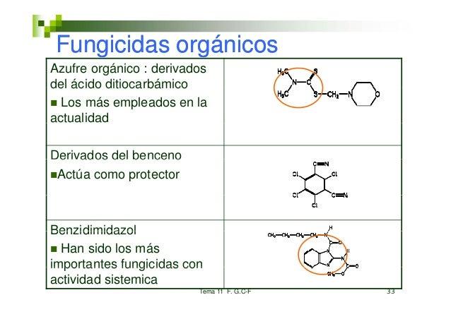 Fungicidas orgánicosAzufre orgánico : derivadosdel ácido ditiocarbámico  Los más empleados en laactualidadDerivados del be...