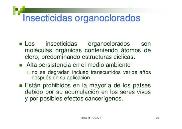 Insecticidas organocloradosLos      insecticidas    organoclorados   sonmoléculas orgánicas conteniendo átomos decloro, pr...
