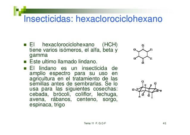 Insecticidas: hexaclorociclohexano El hexaclorociclohexano (HCH) tiene varios isómeros, el alfa, beta y                   ...