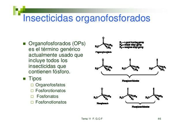 Insecticidas organofosforados Organofosforados (OPs) es el término genérico actualmente usado que incluye todos los insect...