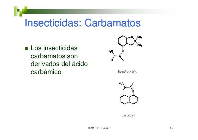 Insecticidas: Carbamatos Los insecticidas carbamatos son    b    t derivados del ácido carbámico    bá i                  ...