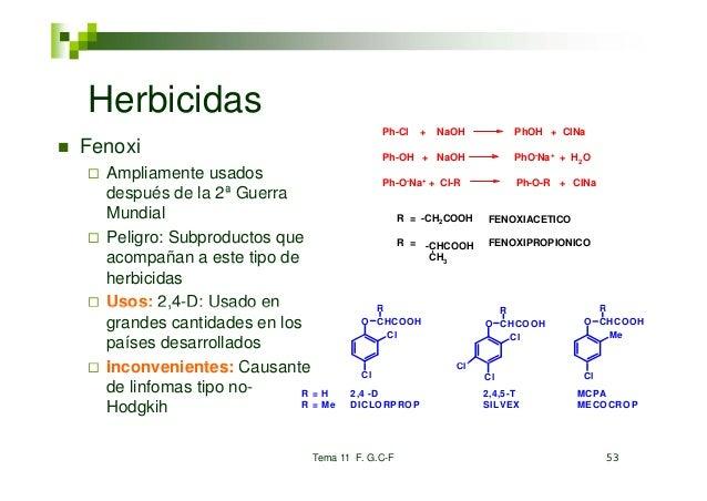 Herbicidas                                           Ph-Cl   +   NaOH          PhOH + ClNaFenoxi                          ...
