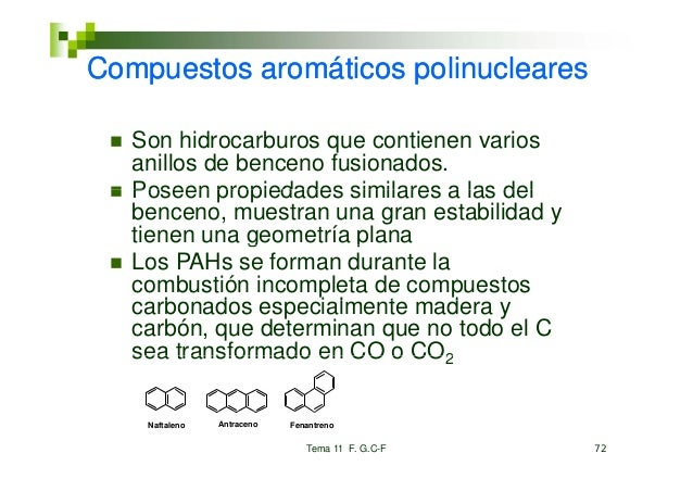 Compuestos a o át cos po uc ea esCo puestos aromáticos polinucleares   Son hidrocarburos que contienen varios   S hid     ...