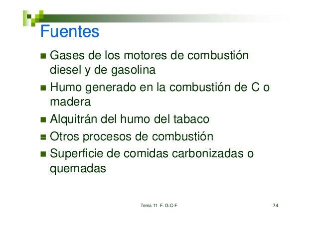 Fuentes Gases de los motores de combustión diesel y de gasolina Humo generado en la combustión de C o madera Alquitrán del...