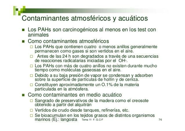 Contaminantes atmosféricos y acuáticos Los PAHs son carcinogénicos al menos en los test con animales Como contaminantes at...