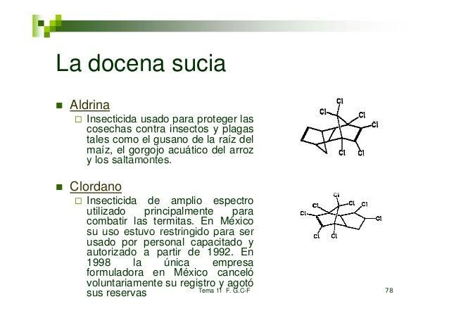 La docena sucia Aldrina   Insecticida usado para proteger las                      p   p    g   cosechas contra insectos y...