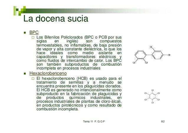 La docena sucia BPC    Los Bifenilos Policlorados    L Bif il P li l d (BPC o PCB por sus    siglas    en     inglés)   so...