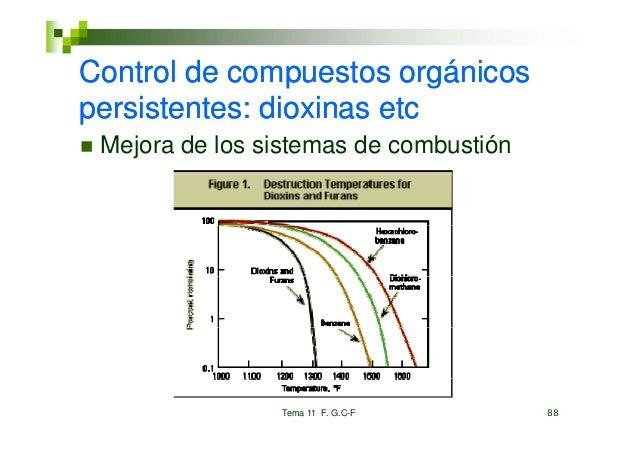 Control de compuestos orgánicosppersistentes: dioxinas etc Mejora de los sistemas de combustión                Tema 11 F. ...