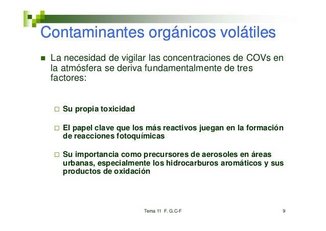 Contaminantes orgánicos volátiles La necesidad de vigilar las concentraciones de COVs en la atmósfera se deriva fundamenta...