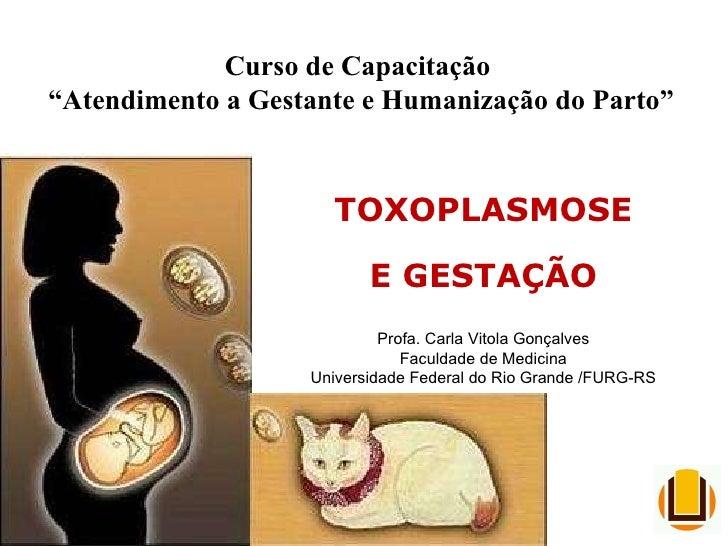 """Curso de Capacitação  """" Atendimento a Gestante e Humanização do Parto"""" TOXOPLASMOSE E GESTAÇÃO Profa. Carla Vitola Gonçalv..."""