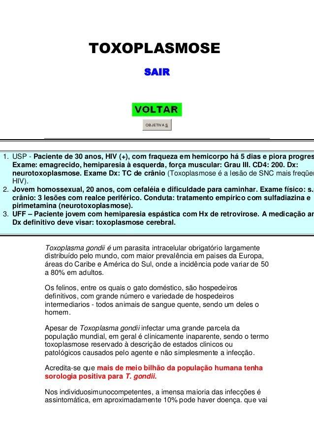 TOXOPLASMOSE                                          SAIR                                           OBJETIV A S1. USP - P...