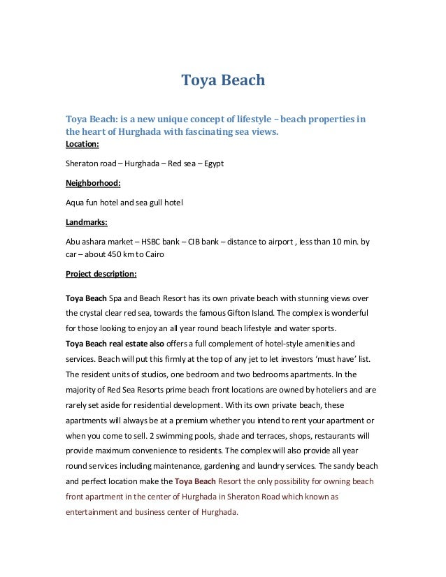 Toya Beach Toya Beach: is a new unique concept of lifestyle – beach properties in the heart of Hurghada with fascinating s...