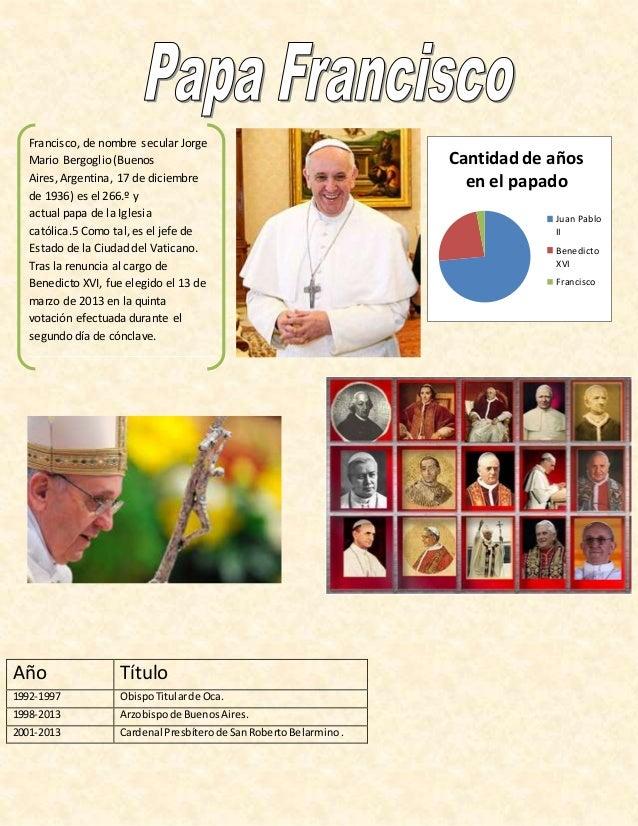 Año Título 1992-1997 ObispoTitularde Oca. 1998-2013 Arzobispode BuenosAires. 2001-2013 Cardenal Presbíterode SanRobertoBel...