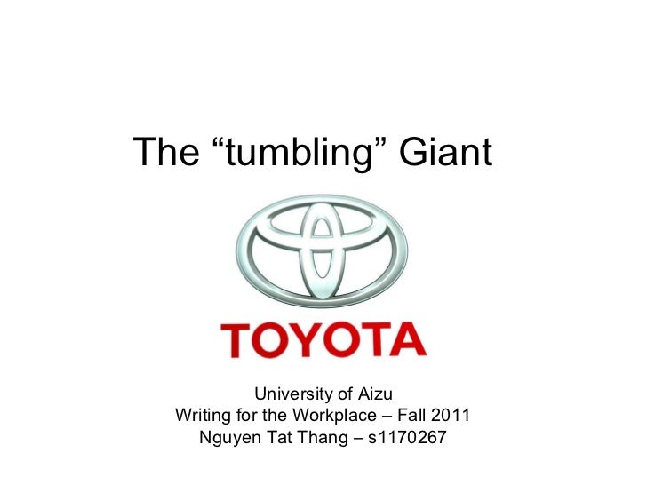 """The """"tumbling"""" Giant            University of Aizu  Writing for the Workplace – Fall 2011    Nguyen Tat Thang – s1170267"""