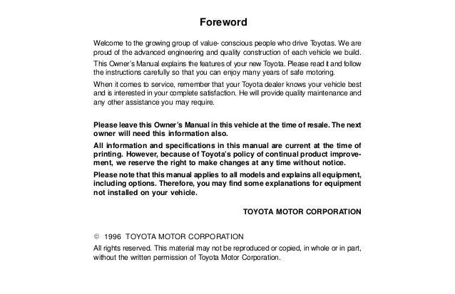 toyota 1996 corolla owners manual f6bad0 rh slideshare net toyota corolla owners manual 2014 toyota corolla owners manual 2018