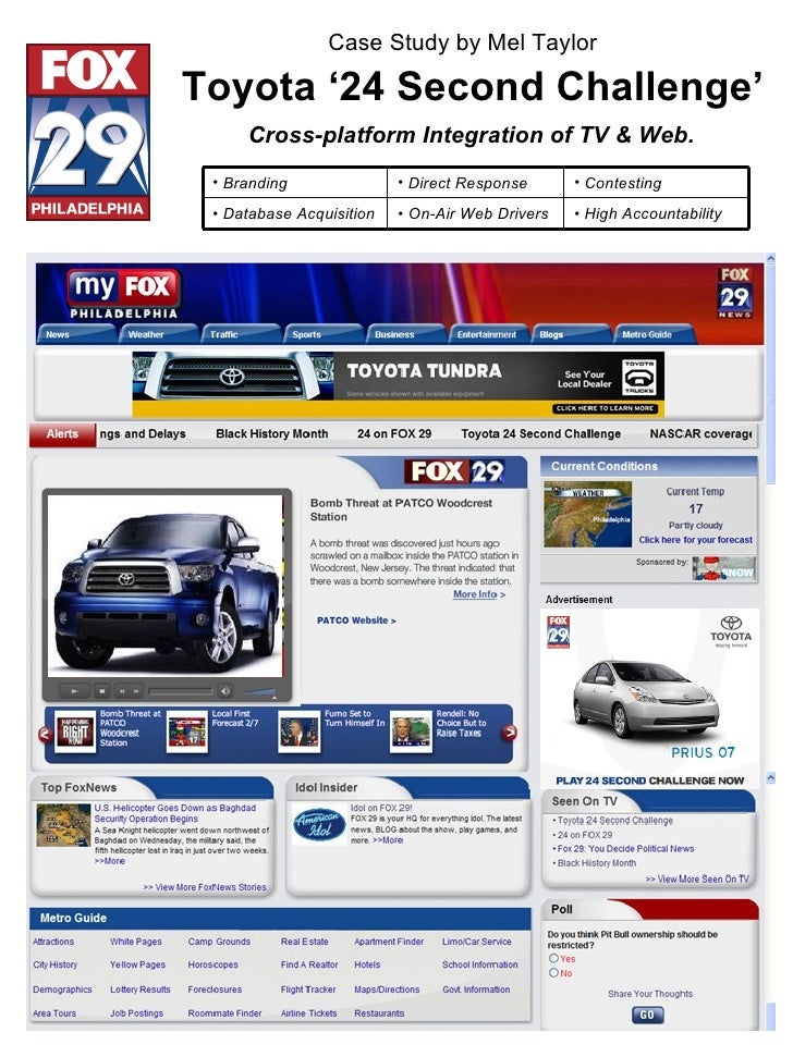 Toyota '24 Second Challenge' Cross-platform Integration of TV & Web. Case Study by Mel Taylor <ul><li>High Accountability ...