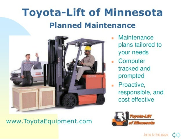 Toyota-Lift of Minnesota           Planned Maintenance                             Maintenance                           ...
