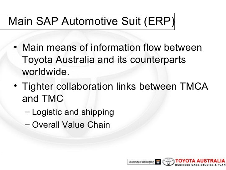 toyota erp system Of sap's erp solution over a linux platform on intel-based hardware, toyota  motorsport  availability and flexi-ble cost-effective system scalability toyota is.
