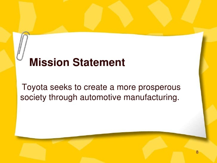 strategic audit at toyota motor corporation Toyota motor corporation case study toyota motor corporation is a japanese multinational corporation it is currently the world's largest automaker mission toyota motor corporation is a company devoted to enhancing the quality of life for people around the world by providing useful and appealing products (toyota motor corporation, 1994.
