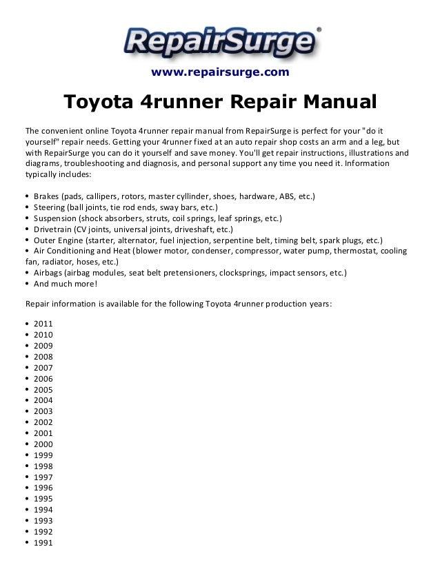 toyota 4runner repair manual 1990 2011 rh slideshare net 1999 Black Toyota 4Runner SR5 1999 Toyota 4Runner White