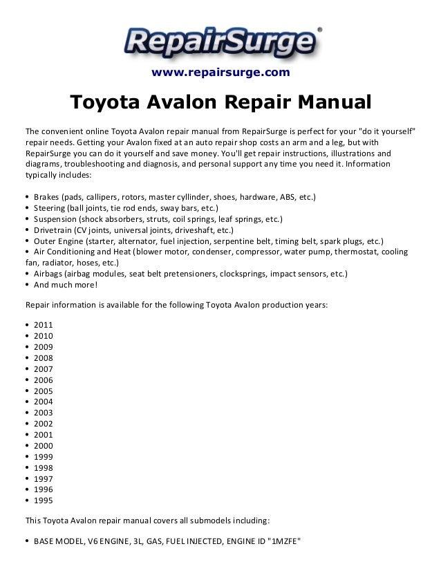 toyota avalon repair manual 1995 2011 rh slideshare net toyota corolla owners manual 2002 Maintenance Man
