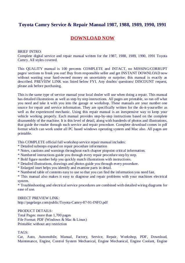toyota camry service repair manual 1987 1988 1989 1990 1991 rh slideshare net