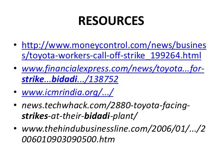 toyota case study pointers Through the case study of toyota we shall understand the concept of operations management better and comprehensively before analyzing the .