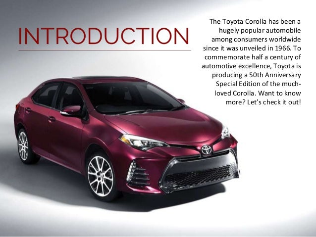 toyota celebrates 50th anniversary with special edition corolla. Black Bedroom Furniture Sets. Home Design Ideas